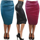 Newly Women's Midi Skirt Stunning Faux Leather Over Hips Dress Female's Clothing