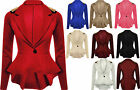 Womens Spike Studded Jacket Ladies Peplum Frill Blazer Tail Back Sexy Top