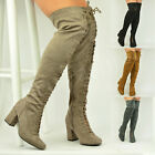 New Womens Ladies Over The Knee Lace Up Boots Mid Block Heel Shoes Size Uk 3-8