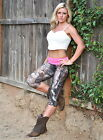 Camo Pants Camouflage Pink Waist Hot Yoga Capri Legging SXYfitness MADE IN USA