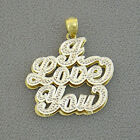 "10K Gold ""I Love You"" Double Plate Pendant Jewelry NP43"