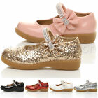GIRLS KIDS CHILDRENS FLAT DIAMANTE STRAP BOW PARTY FORMAL EVENING SHOES SIZE