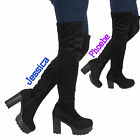 WOMENS LADIES SUEDE OVER THE KNEE THIGH HIGH CHUNKY PLATFORM HEEL STRETCH BOOTS