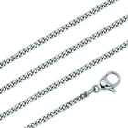 """1.4MM Stainless Steel Silver Thin Solid Curb Link Chain Necklace in 18"""" 20"""""""