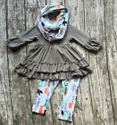 NWOT Toddler Girls Fox Thanksgiving Fall Tunic Leggings & Scarf Boutique Outfit
