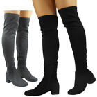 Womens Ladies Thigh High Over The Knee Boots Faux Suede Long Low Heel Shoes Size