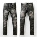 New Mens France Style Moto Pants Washed Black Slim Biker Jeans Trousers B1026C