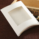 White Paperboard Pillow Box with Clear Window Candy Party Favor Boxes