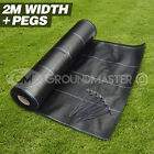 2M WIDE GROUNDMASTER™  HEAVY DUTY WEED CONTROL FABRIC COVER MEMBRANE + PEGS