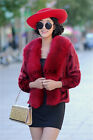 2016 new  fashion hot style faux mink coat with faux fox fur collar comfortable
