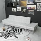 Convertible Sofa Bed Couch Sleeper w Ottoman Living Room Furniture Black White