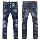 New Mens Italy Distressed Slim Pants Scratchs Denim Blue JEANS Trousers D1818T