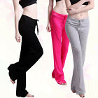 Women's Soft Cotton Yoga Gym Fitness Running Sport Trousers Long Pants Natural