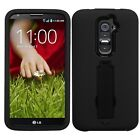 For LG G2 Rugged Hybrid Rubber Skin Armor Hard Kickstand Case Cover