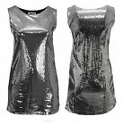 Ladies Plus Size Sparkly Silver Sequin Sleeveless Dress Party Wear Girls  Womens