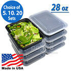 28oz Meal Prep Food Containers with Lids, Reusable Microwavable Plastic BPA free