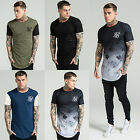 Mens Sik Silk Short Sleeve T-Shirt Designer Longer Drop Curved Hem Stylish Tee
