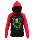 Men's DJ Heapdhones Frog Black Red Raglan Hoodie EDM Rave Rage Party Sweater