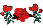 Large Red Rose Flower Iron/Sew On Patch Embroidered Applique for Dress T-shirt