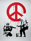 Banksy Peace Sign Soldiers Pacifism Graffiti Giant Wall Print POSTER