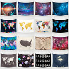 Vintage World Map Galaxy Tapestry Polyester Wall Hanging Decor Hippie Bedspread