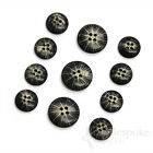 Starburst-Etched Black Buffalo Horn Buttons for Suits and Coats, Made in Italy