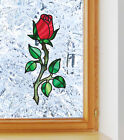 "Clr:wnd - Rosebud On Stem - Stained Glass Style Vinyl Decal © Yydc (3""w X 7""h)"