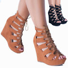 Women's High Wedge Lace Up Caged Peep Toe Girls Ankle Boots Ladies Sandals