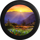 Sunrise Sunset behind Mountain Range field of Flowers Jeep RV Spare Tire Cover