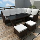 Outdoor Patio Rattan Wicker Furniture Set Lounge Sofa Stool Table Brown Black