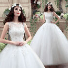White Straps Wedding Dress Prom Bridal Gown Custom Size Lace Floral 6 -16