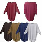 Women Ladies Plain Oversized Batwing Baggy Top One Size Fits 8-26