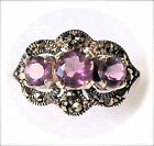 AMETHYST GEMS 3-STONES Victorian Vintage-Style Ring Marcasite Sterling Silver