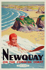Vintage 1950s Travel Poster Surfing Newquay Cornwall Beach Retro Print Picture