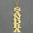 Personalized 14K Solid Gold Vertical Name Pendant Laser Cut Block Letter Jewelry image