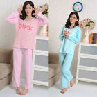 MASALING Pink Blue Women Girl Lady Long Sleeve Sleepwear Warm Color Pajamas Set