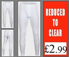 Brand New Mens 100% Cotton Ribbed Cuffs White Long Johns , XL