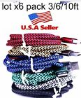 x6 pack 3/6/10ft Braided USB Charger Cable for Apple Lightning iPhone 5/6/6s/7+