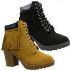 LADIES WOMENS MILITARY COWBOY BIKER ANKLE BLOCK HEEL PLATFORM BOOTS SHOES SIZE