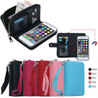 Leather Case Zipper Wallet Card Removable Magnetic Detachable Cover For phones