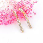 3 Color Simply Fashion Crystal Strip Dangle Earrings Women Lady Birthday Gifts