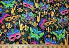 Mardi Gras Fabric Masks Maquerade Celebration Feather Cotton Quilt Fabric t3/4