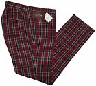 Relco Mens Stay Press Burgundy Tartan Trousers Sta Prest Retro Mod Skin Ska Golf