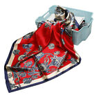 "Women's Fashion Red Paisley Soft Satin Square Head Scarf Shawl for Beach 35"" 35"""