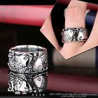 gothic aristocrat Pisces zodiac fish engraved titanium steel band ring【J1A618】
