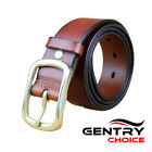 100% Genuine Leather High Quality Casual Dress Golden Buckle CoffeeBrown Belt