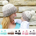 Kids Baby Toddler Boy Girl Cap & Mom Knit Warm Soft Beanie Hat Hairball Cap