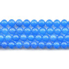 Natural Blue Agate Gemstone Round Beads 15'' 6mm 8mm 10mm 12mm