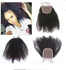 "6A Virgin Human Hair Lace Top Closure Kinky Curly Bleached Knots 4""x4"" Baby Hair"