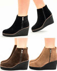WOMENS LADIES PLATFORM FAUX SUEDE HIGH HEEL WEDGE CHELSEA ANKLE BOOTS SHOES SIZE